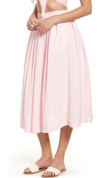 J.O.A. gingham midi skirt in pink/ white - Be pretty in pleats with this lovely gingham midi skirt...
