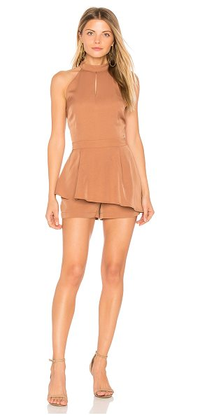 """J.O.A. Halter Neck Cut Out Romper in brown - """"Self: 100% polyLining: 100% rayon. Hand wash cold...."""