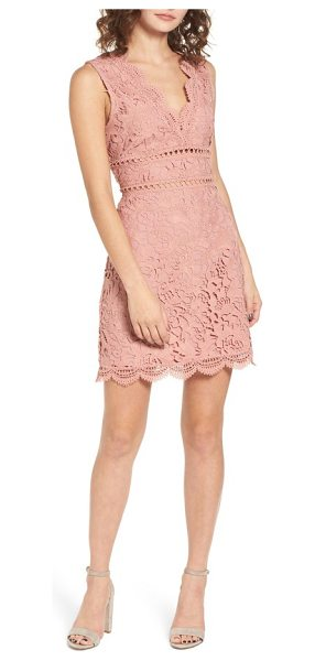 J.O.A. lace minidress in rose - Soft and romantic, this lace dress features a strappy...