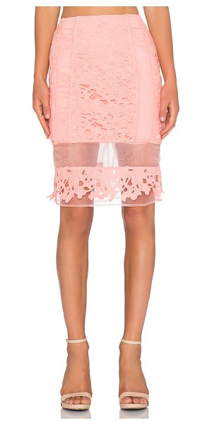 J.O.A. Lace pencil skirt in peach - Self & Lining: 100% poly. Dry clean only. Skirt measures...