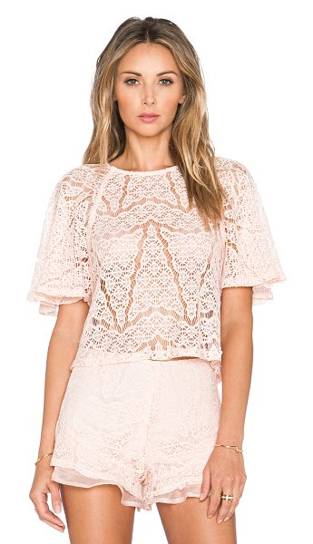 J.O.A. Lace top in blush - Self: 85% nylon 15% polyCombo: 100% poly. Dry clean...