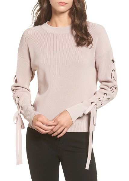 J.O.A. lace-up sleeve sweater in pink