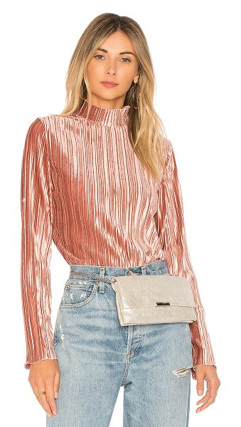J.O.A. Mock Neck Pleated Top in pink - 100% poly. Dry clean only. Ribbed fabric. Back zipper...