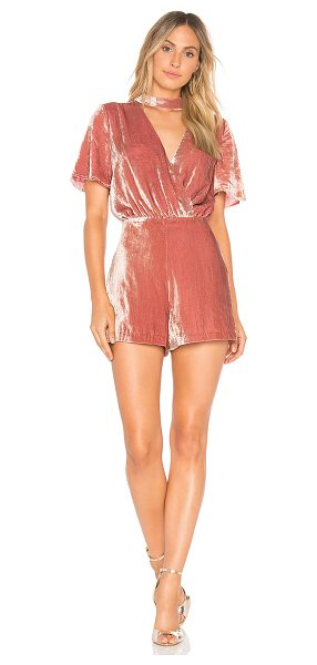 """J.O.A. Mock Neck Velvet Romper in blush - """"Self: 65% rayon 35% polyLining: 100% poly. Dry clean..."""