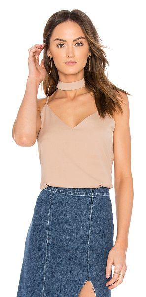 J.O.A. Neck Band Strappy Cami in beige - Poly blend. Hand wash cold. Attached collar with button...