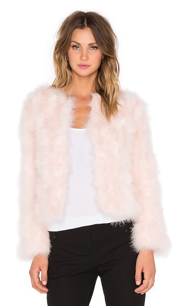 J.O.A. Ostrich jacket in pink - Self: 100% turkey featherLining: 100% poly. Dry clean...