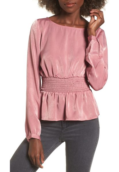 J.O.A. peplum top in dusty pink - A smocked waist defines your figure and creates a peplum...