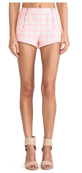 """J.O.A. Pink checked shorts in pink - 100% poly. Shorts measure approx 10"""""""" in length. Dry..."""