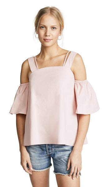 J.O.A. pinky top in pink - Fabric: Crisp plain weave Open shoulders Cropped profile...