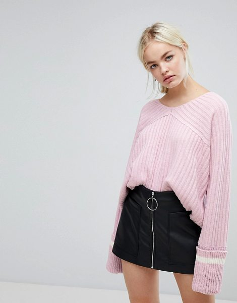 J.O.A. relaxed varsity sweater with xl sports stripe cuffs in pink - Sweater by J.O.A, Soft-touch knit, Ribbed finish, Soft...