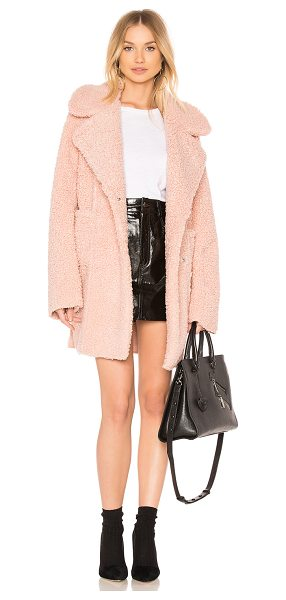 J.O.A. Reversible Shearling Coat in blush - Self & Lining: 100% poly. Dry clean only. Front snap...