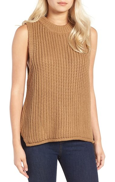 J.O.A. rib knit sleeveless sweater in brown - A chunky rib-knit texture defines a sleeveless sweater...