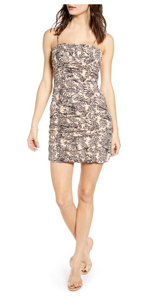 J.O.A. ruched body-con dress in beige