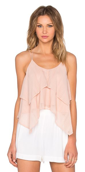 J.O.A. Ruffle Tank in pink - Poly blend. Hand wash cold. Tiered ruffle layers....