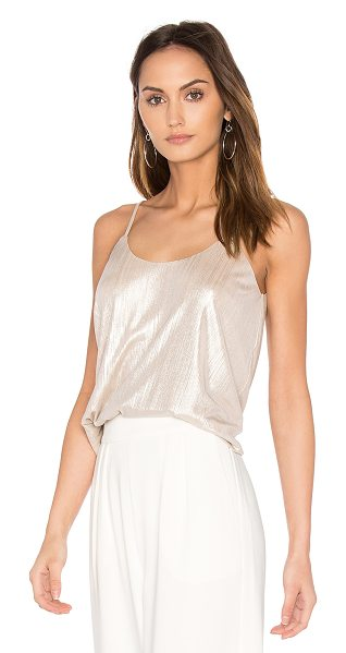 J.O.A. Scoop Neck Tank in metallic gold - Self: 96% poly 4% spandexLining: 100% poly. Dry clean...