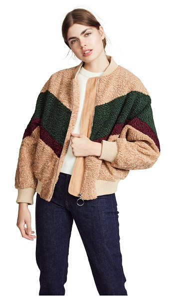 J.O.A. sherpa jacket in beige/forest - Fabric: Sherpa Chevron pattern Ribbed edges Waist-length...