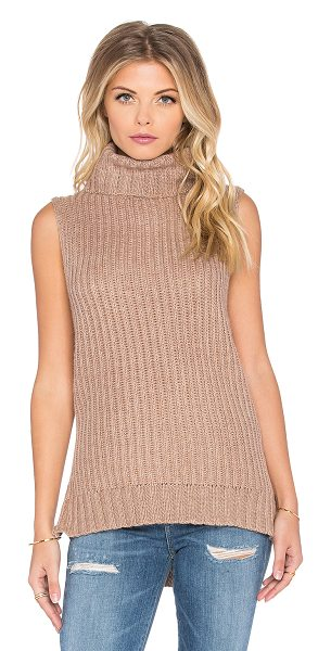 J.O.A. Side slit turtleneck top in tan - 48% poly 38% rayon 11% nylon 3% angora. Dry clean only....