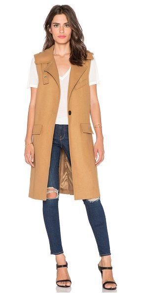 J.O.A. Sleeveless one button coat in tan - Poly/wool blend. Dry clean only. Fully lined. Front...