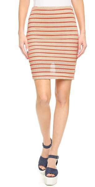 J.O.A. Stripe knit skirt in khaki/neon orange - Open stitching and bright printed stripes lend rich...