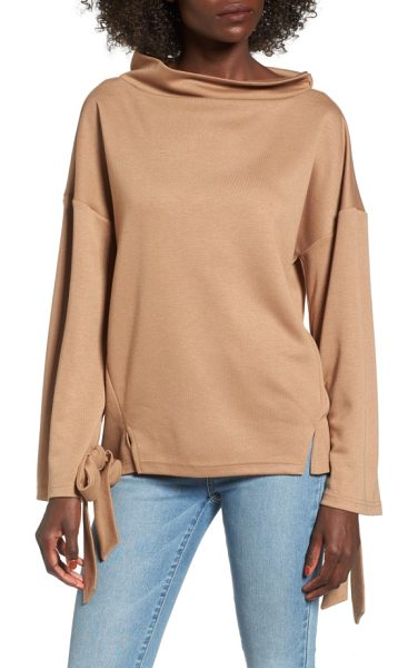 J.O.A. tie sleeve sweater in tan - A cool retro vibe defines this boxy sweater with a soft...
