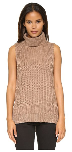J.O.A. Turtleneck knit top in khaki - A cozy J.O.A. top with a slouchy turtleneck. Hidden zips...