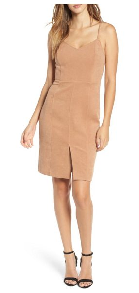 J.O.A. v-neck sheath dress in dark brown - A soft stretch fabric with the brushed look of suede...