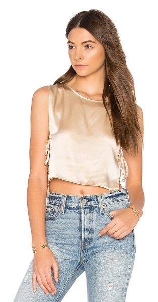 JOAH BROWN Wooer Crop Top in cream - Silk blend. Dry clean only. Side seam slits with tie...
