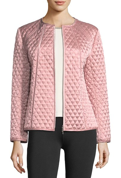 Joan Vass Quilted Satin Zip Jacket in ballet pink - Joan Vass diamond quilted satin jacket. Collarless;...