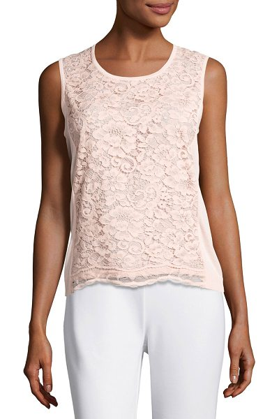 Joan Vass Scoop-Neck Lace Shell in blush - Joan Vass shell with lace overlay at front. Scoop...