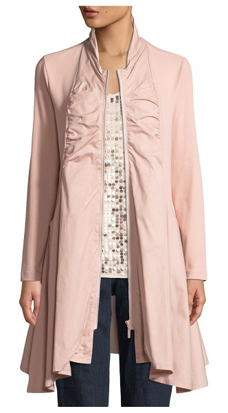 Joan Vass Zip-Front Stretch Interlock/Woven Combo Jacket in dusty rose