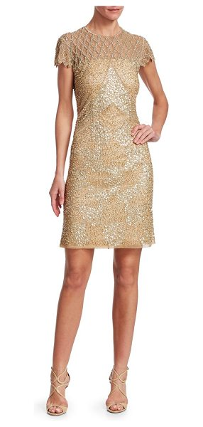 JOANNA MASTROIANNI sequin illusion cocktail dress in nude soft gold - Finished in a blend of dainty beading and metallic...