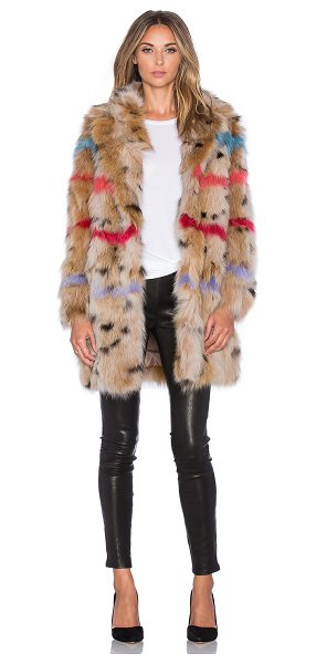 JOCELYN Color insert fox belly fur coat in brown - Self: 100% dyed fox fur belly sectionsLining: 100% poly....