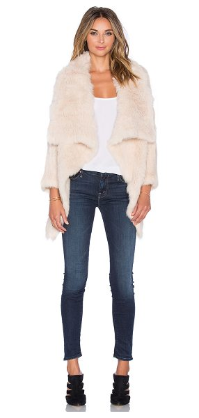 Jocelyn Rabbit fur asymmetrical jacket in tan - 100% dyed rabbit fur. Fur Origin: China. Professional...