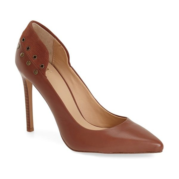 Joe's dorian pump in tan suede/ leather - A sueded, grommet-detailed counter panel lends a touch...