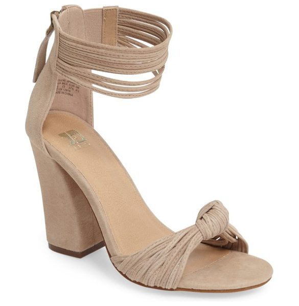 Joe's fatima sandal in sand leather - A knotted toe band and dramatic ankle cuff define a...