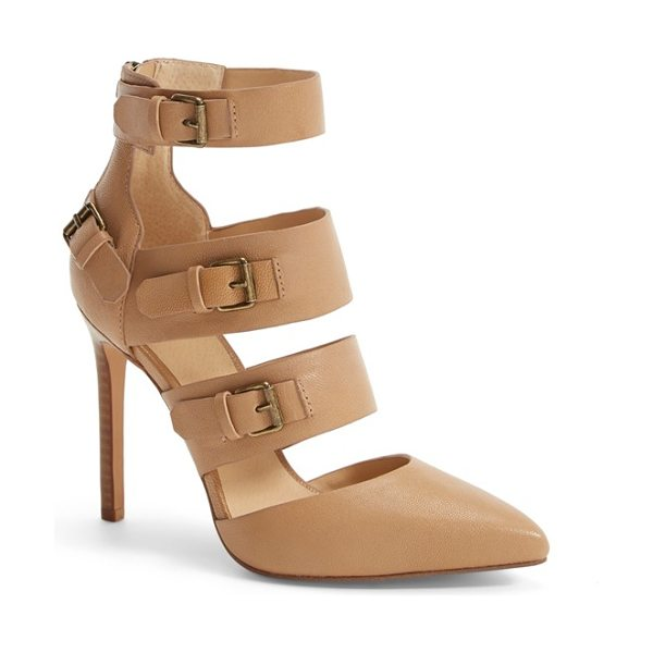 Joe's giddy leather pointy toe pump in tobacco leather - Layers of buckle-detailed straps create a contemporary...