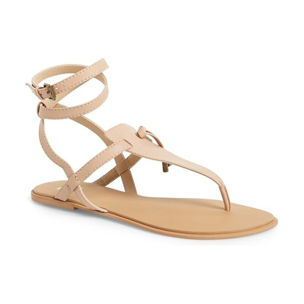 Joe's inquire ankle strap sandal in nude - A wraparound ankle strap adds a boho-chic element to a...