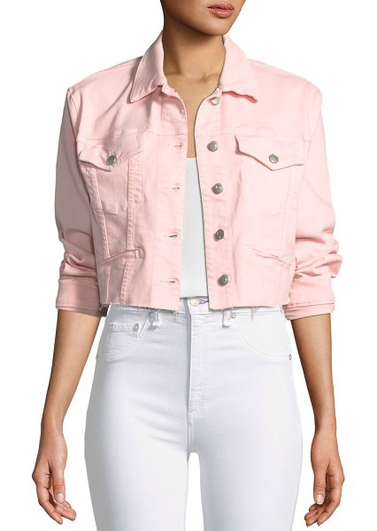 JOE'S JEANS 80s-Inspired Cropped Denim Jacket in light pink - Joe's Jeans 80s-inspired cropped denim jacket. Spread...