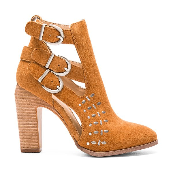 Joe's Jeans Kicks Bootie in tan - Suede upper with man made sole. Ankle straps with buckle...