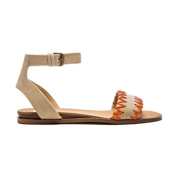 Joe's Jeans Reba sandal in beige - Leather upper with man made sole. Contrast color whip...