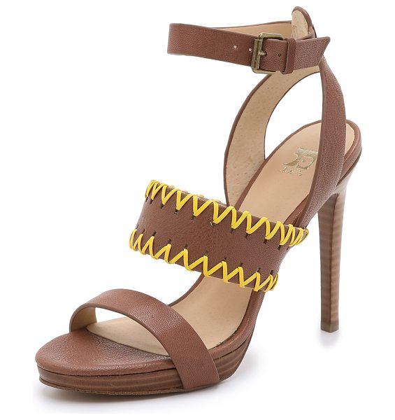 Joe's Jeans Riana platform sandals in brown/yellow - Whipstitching adds a pop of color to these Joe's Jeans...