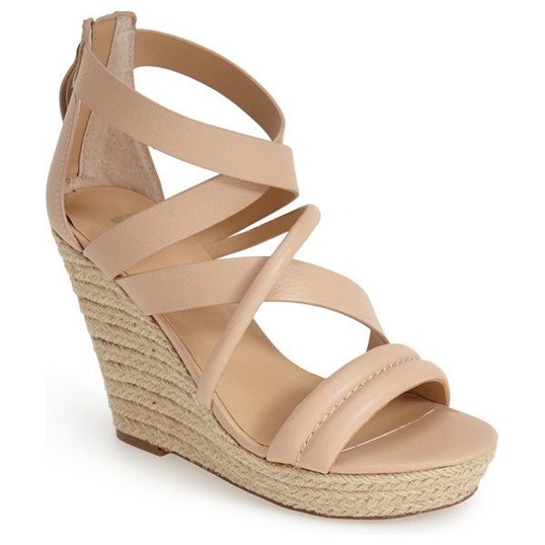 Joe's robina espadrille wedge sandal in sand - Suave leather straps refine a casual-chic sandal...