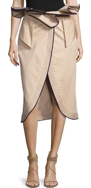 "Johanna Ortiz Farallones Belted Midi Skirt in beige - Johanna Ortiz ""Farallones"" skirt in stretch sateen with..."