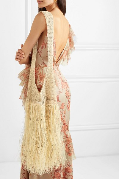 Johanna Ortiz fringed woven straw tote in neutral