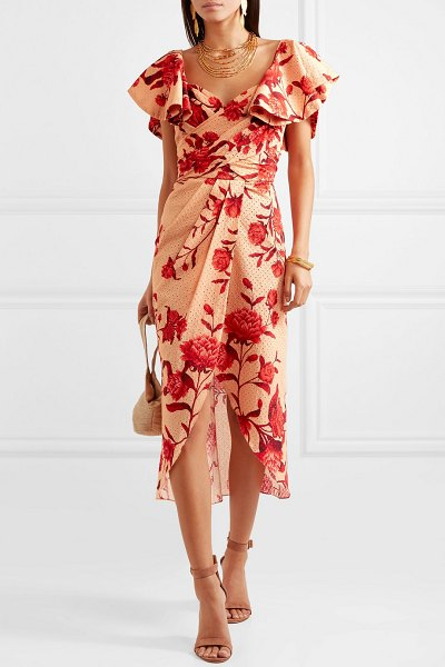 Johanna Ortiz ruffled floral-print broderie anglaise cotton midi dress in pink