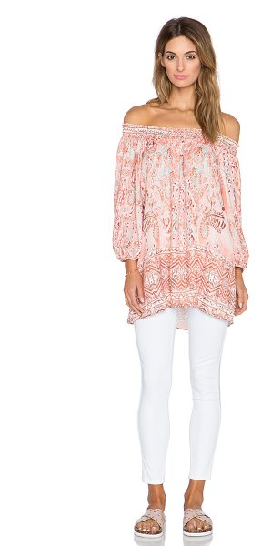 Johanne Beck Mandy shirred tunic in rose - 100% poly. Hand wash cold. Unlined. Smocked neckline....