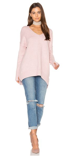 John & Jenn by Line Gala V Neck Sweater in pink - 60% acrylic 24% PTT 14% nylon 2% spandex. Hand wash...