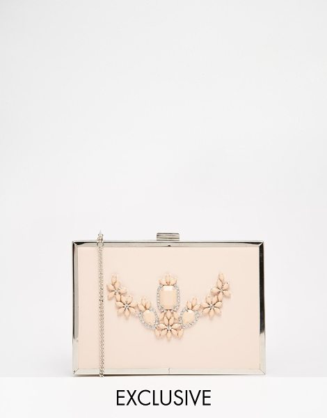 Johnny Loves Rosie Exclusive nude bea box clutch in nude - Cart by Johnny Loves Rosie Faux leather Frame design...