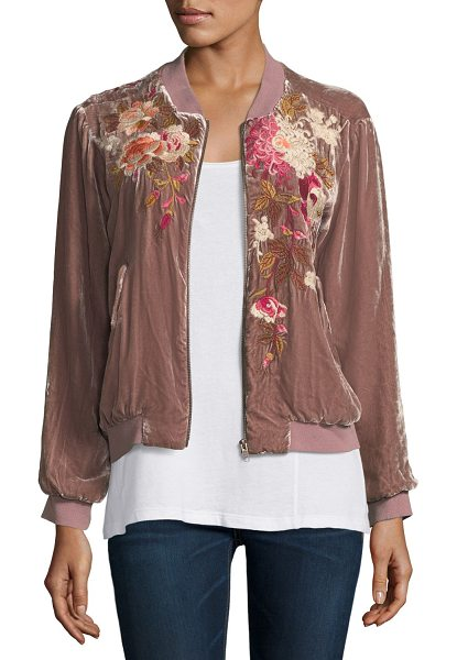 """Johnny Was Chrys Velvet Embroidery Bomber Jacket in rose - Johnny Was """"Chrys"""" bomber jacket in velvet with floral..."""
