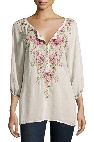 "Johnny Was Moon 3/4-Sleeve Embroidered Blouse in powder sugar - Johnny Was Collection ""Moon"" blouse in embroidered..."